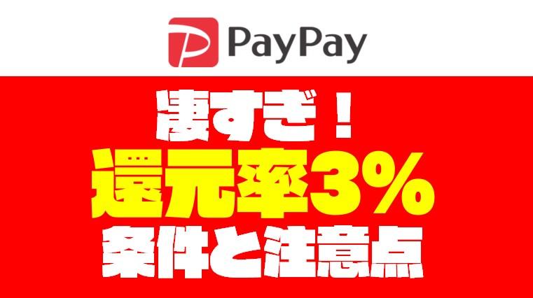 【2019年5月版】ペイペイで常に3%還元するための条件と注意点【PayPay】